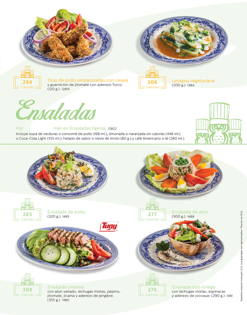 Menu lighero saludable for Sanborns azulejos horario